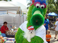 KUSHKA was hanging out with her friend the Phillie Phanatic at the Collingswood Book Festival